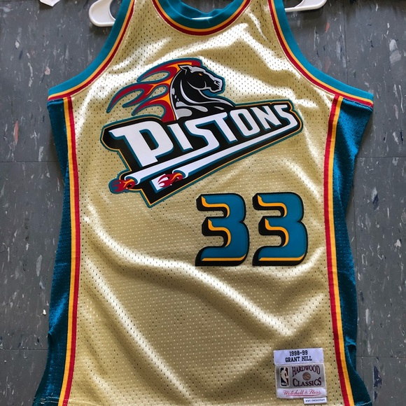 separation shoes d0317 5894c Gold Mitchell & Ness Grant Hill Pistons NBA Jersey